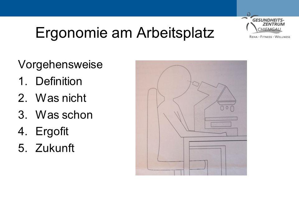 Vorgehensweise 1.Definition 2.Was nicht 3.Was schon 4.Ergofit 5.Zukunft Ergonomie am Arbeitsplatz