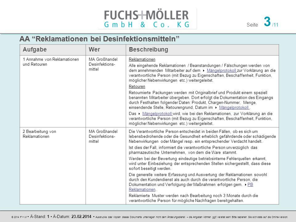 Seite 3 /11 © 2014 F + M Ä-Stand: 1 Ä-Datum: 23.02.2014 Ausdrucke oder Kopien dieses Dokuments unterliegen nicht dem Änderungsdienst – die Angaben können ggf.