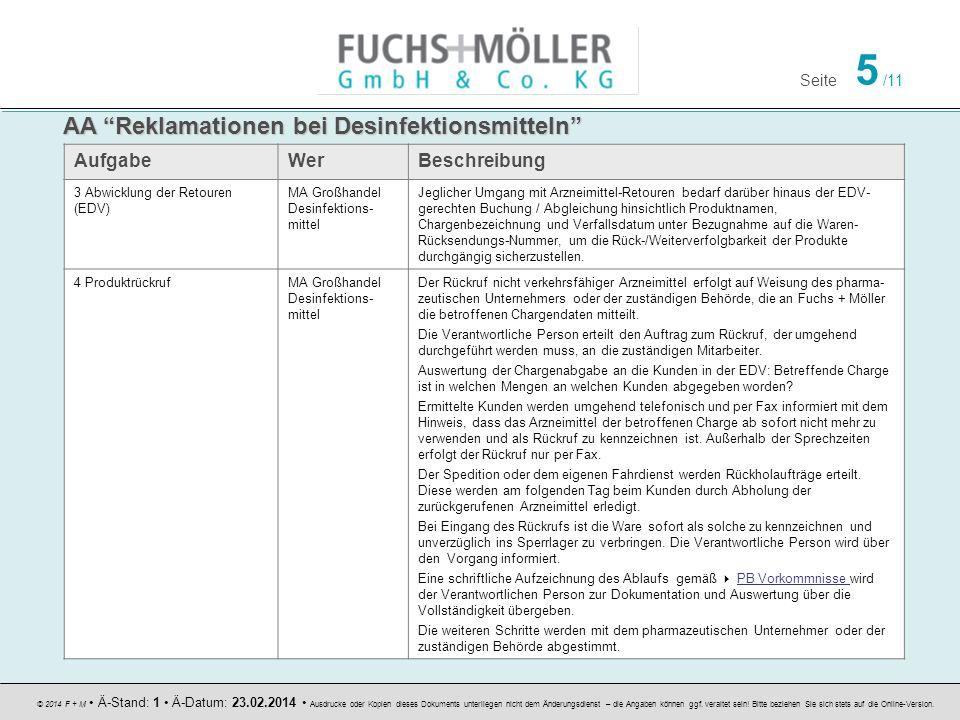Seite 5 /11 © 2014 F + M Ä-Stand: 1 Ä-Datum: 23.02.2014 Ausdrucke oder Kopien dieses Dokuments unterliegen nicht dem Änderungsdienst – die Angaben können ggf.