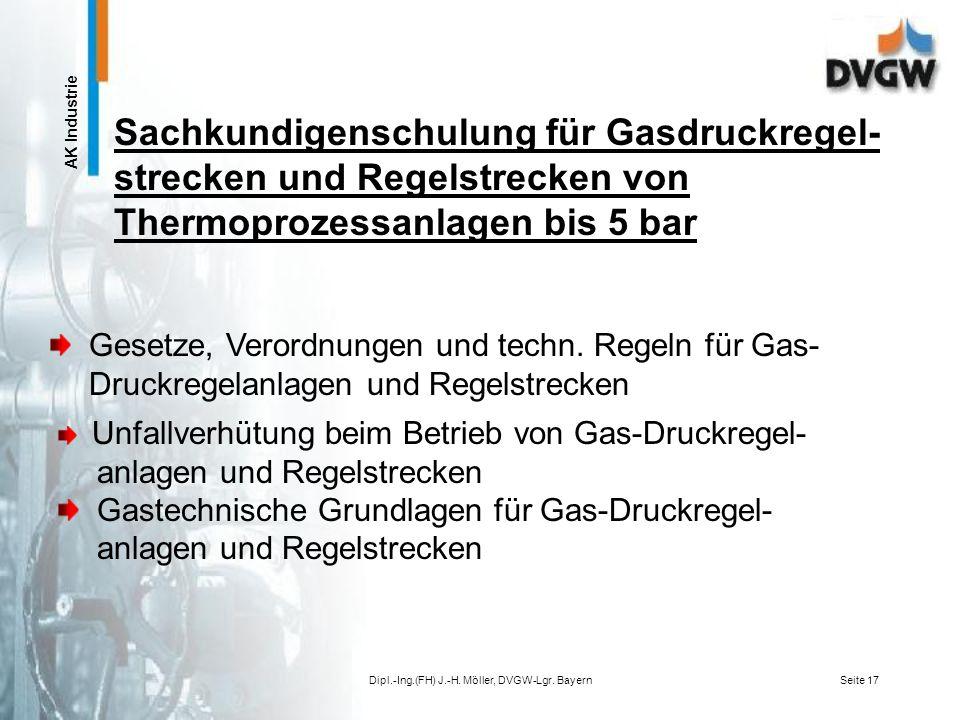 AK Industrie Dipl.-Ing.(FH) J.-H. Möller, DVGW-Lgr. BayernSeite 16 Berufserfahrung im Bereich betrieblicher Gasdruckregelstrecken Berufserfahrung im B