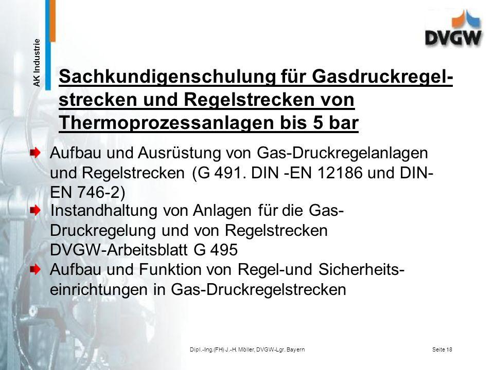 AK Industrie Dipl.-Ing.(FH) J.-H. Möller, DVGW-Lgr. BayernSeite 17 Unfallverhütung beim Betrieb von Gas-Druckregel- anlagen und Regelstrecken Gastechn
