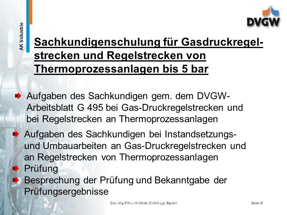 AK Industrie Dipl.-Ing.(FH) J.-H. Möller, DVGW-Lgr. BayernSeite 18 Instandhaltung von Anlagen für die Gas- Druckregelung und von Regelstrecken DVGW-Ar