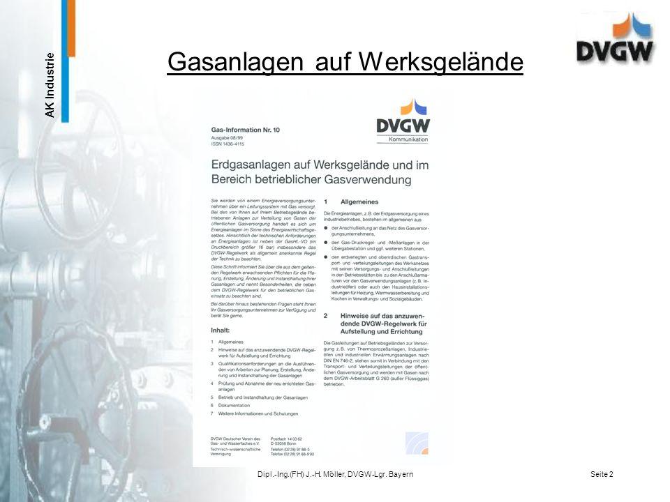 AK Industrie Ausbildung von Mitarbeitern und Dienstleistern von Betreibern von Erdgasanlagen auf Werksgelände Dipl.-Ing.(FH) Jörn-Helge Möller, DVGW-L
