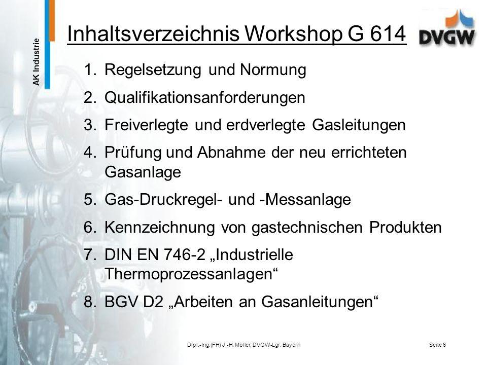 AK Industrie Dipl.-Ing.(FH) J.-H. Möller, DVGW-Lgr. BayernSeite 5 -Erarbeitung einer VIU-Zusatzqualifikation für Arbeiten an industriellen Werksleitun
