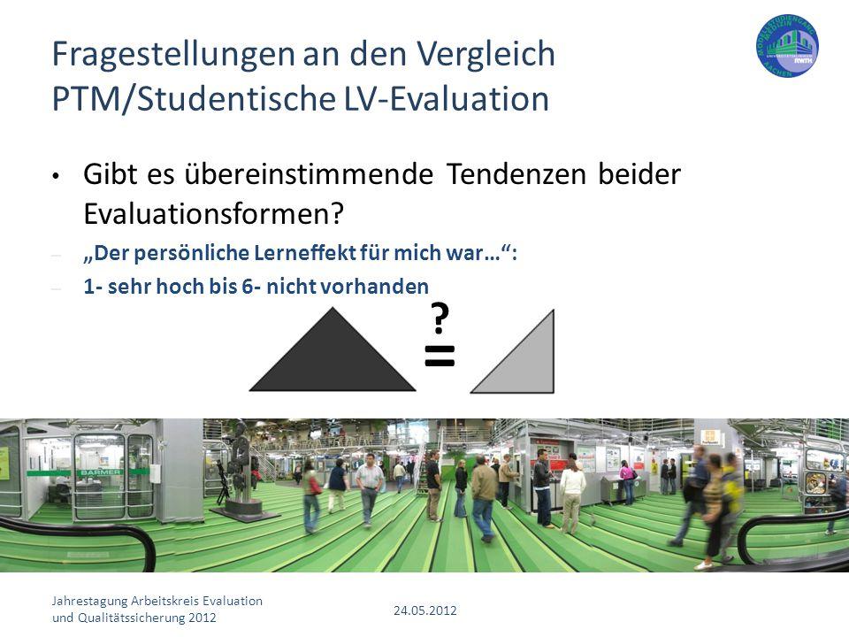 """Jahrestagung Arbeitskreis Evaluation und Qualitätssicherung 2012 24.05.2012 Gibt es übereinstimmende Tendenzen beider Evaluationsformen? – """"Der persön"""
