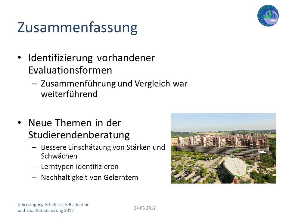 Jahrestagung Arbeitskreis Evaluation und Qualitätssicherung 2012 24.05.2012 Identifizierung vorhandener Evaluationsformen – Zusammenführung und Vergle