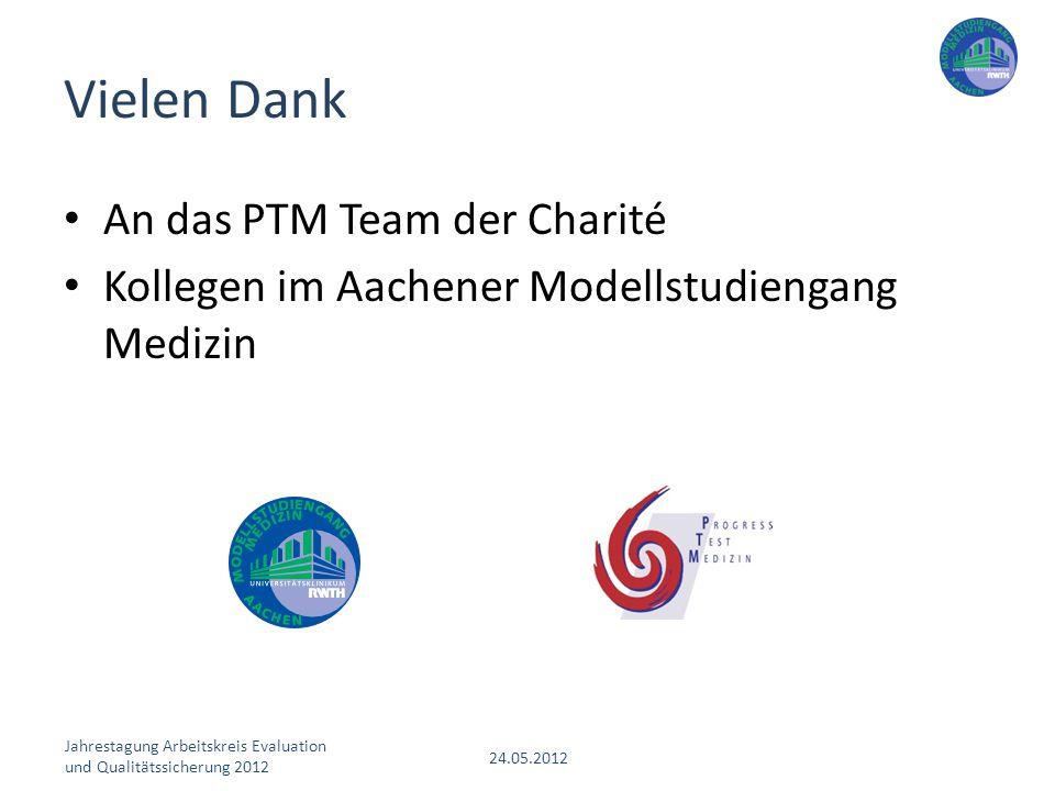 Jahrestagung Arbeitskreis Evaluation und Qualitätssicherung 2012 24.05.2012 An das PTM Team der Charité Kollegen im Aachener Modellstudiengang Medizin