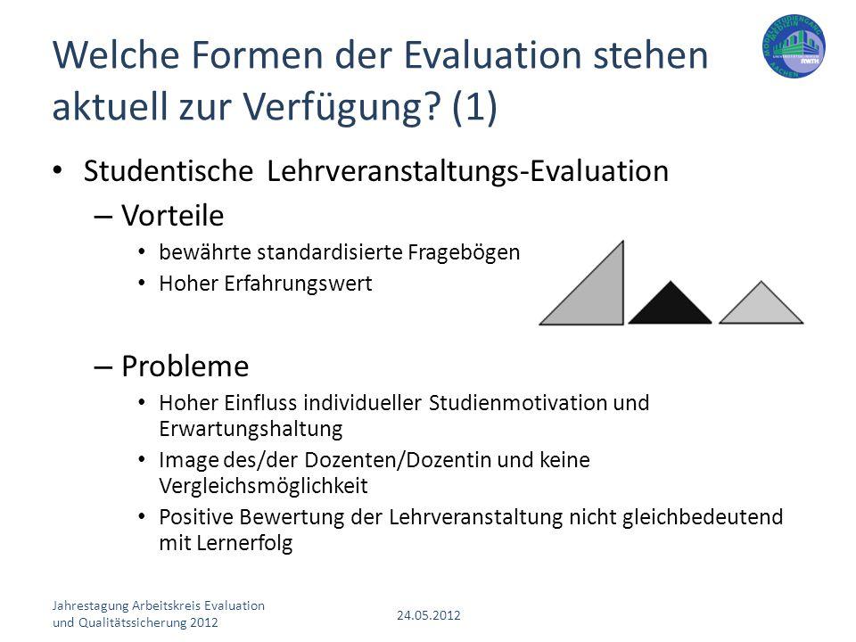 Jahrestagung Arbeitskreis Evaluation und Qualitätssicherung 2012 24.05.2012 Studentische Lehrveranstaltungs-Evaluation – Vorteile bewährte standardisi