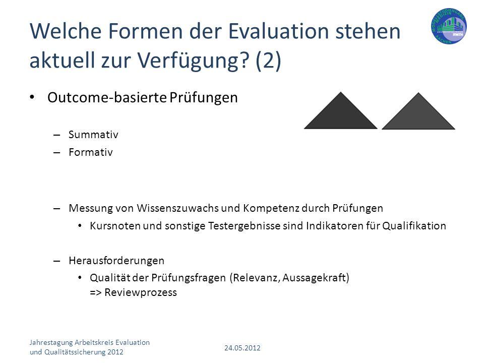 Jahrestagung Arbeitskreis Evaluation und Qualitätssicherung 2012 24.05.2012 Outcome-basierte Prüfungen – Summativ – Formativ – Messung von Wissenszuwa
