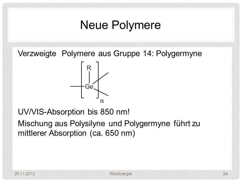 Neue Polymere Verzweigte Polymere aus Gruppe 14: Polygermyne UV/VIS-Absorption bis 850 nm.