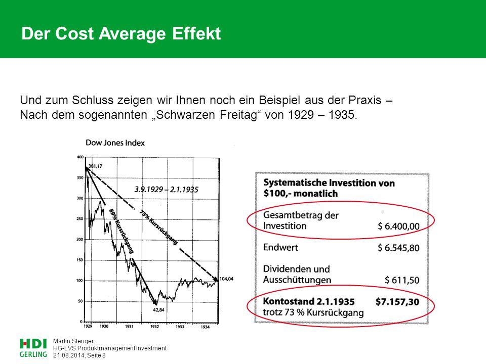 HG-LVS Produktmanagement Investment 21.08.2014, Seite 8 Martin Stenger Der Cost Average Effekt Und zum Schluss zeigen wir Ihnen noch ein Beispiel aus