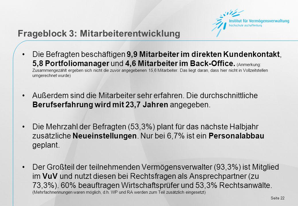 Seite 22 Die Befragten beschäftigen 9,9 Mitarbeiter im direkten Kundenkontakt, 5,8 Portfoliomanager und 4,6 Mitarbeiter im Back-Office.