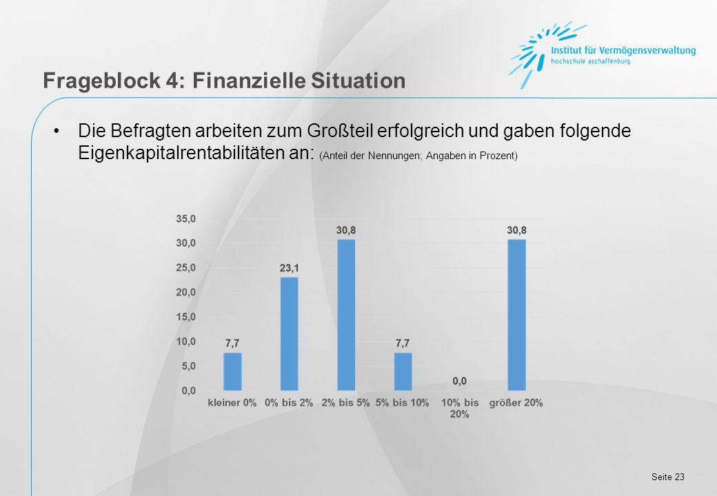Seite 23 Frageblock 4: Finanzielle Situation Die Befragten arbeiten zum Großteil erfolgreich und gaben folgende Eigenkapitalrentabilitäten an: (Anteil der Nennungen; Angaben in Prozent)