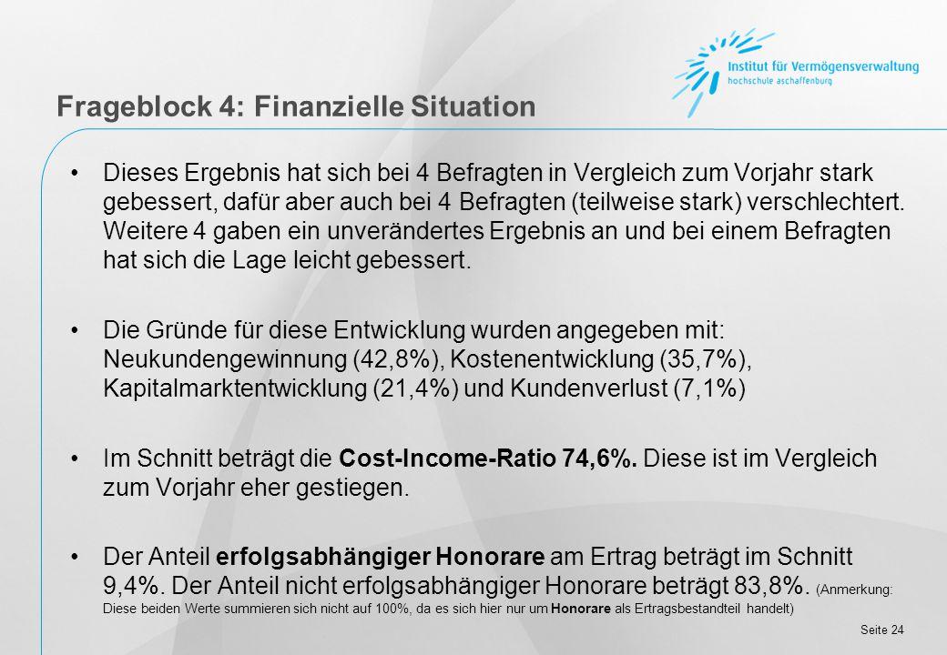 Seite 24 Frageblock 4: Finanzielle Situation Dieses Ergebnis hat sich bei 4 Befragten in Vergleich zum Vorjahr stark gebessert, dafür aber auch bei 4 Befragten (teilweise stark) verschlechtert.