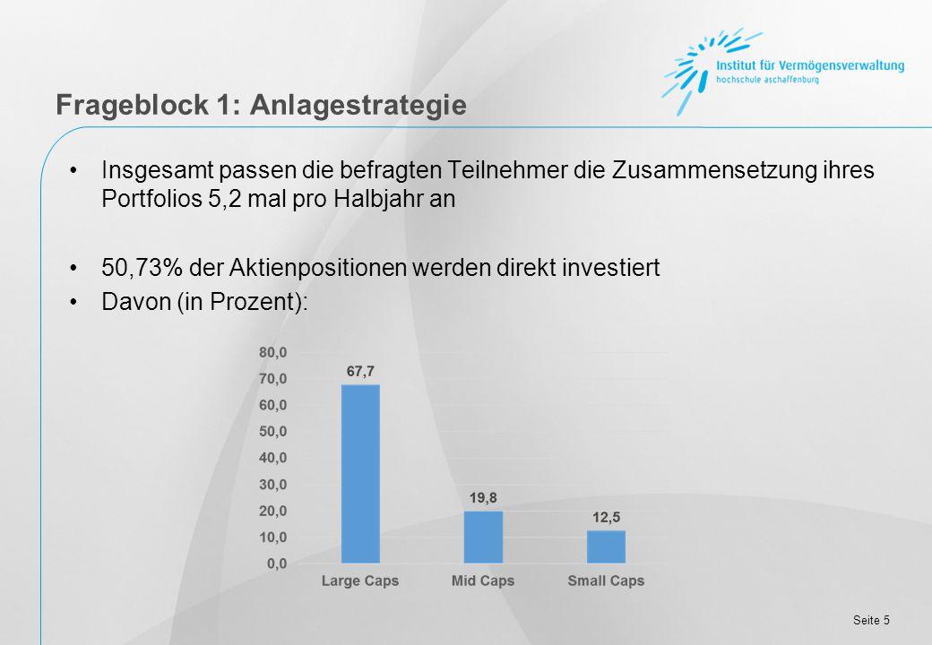 Seite 5 Insgesamt passen die befragten Teilnehmer die Zusammensetzung ihres Portfolios 5,2 mal pro Halbjahr an 50,73% der Aktienpositionen werden direkt investiert Davon (in Prozent): Frageblock 1: Anlagestrategie