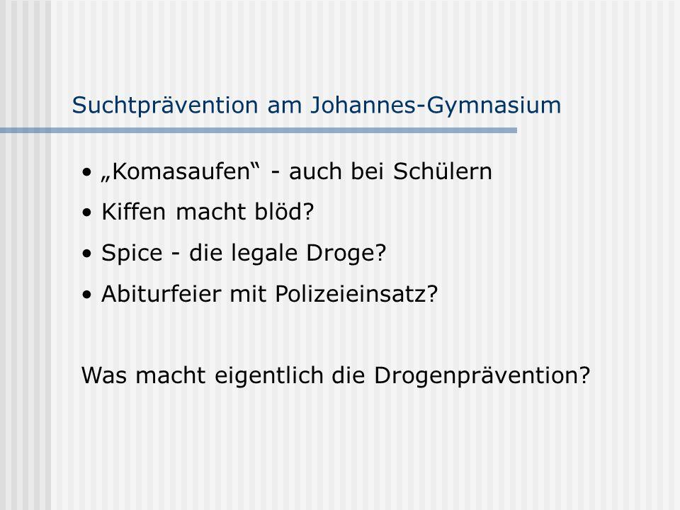 """Suchtprävention am Johannes-Gymnasium """"Komasaufen"""" - auch bei Schülern Kiffen macht blöd? Spice - die legale Droge? Abiturfeier mit Polizeieinsatz? Wa"""