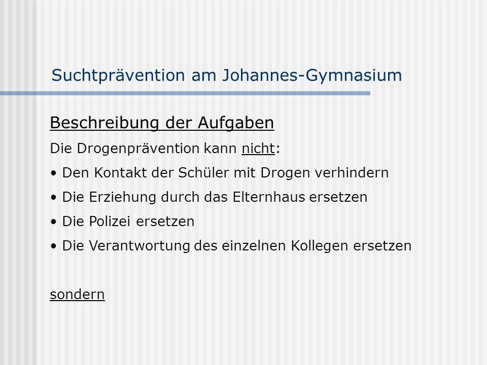 Suchtprävention am Johannes-Gymnasium Beschreibung der Aufgaben Die Drogenprävention kann nicht: Den Kontakt der Schüler mit Drogen verhindern Die Erz