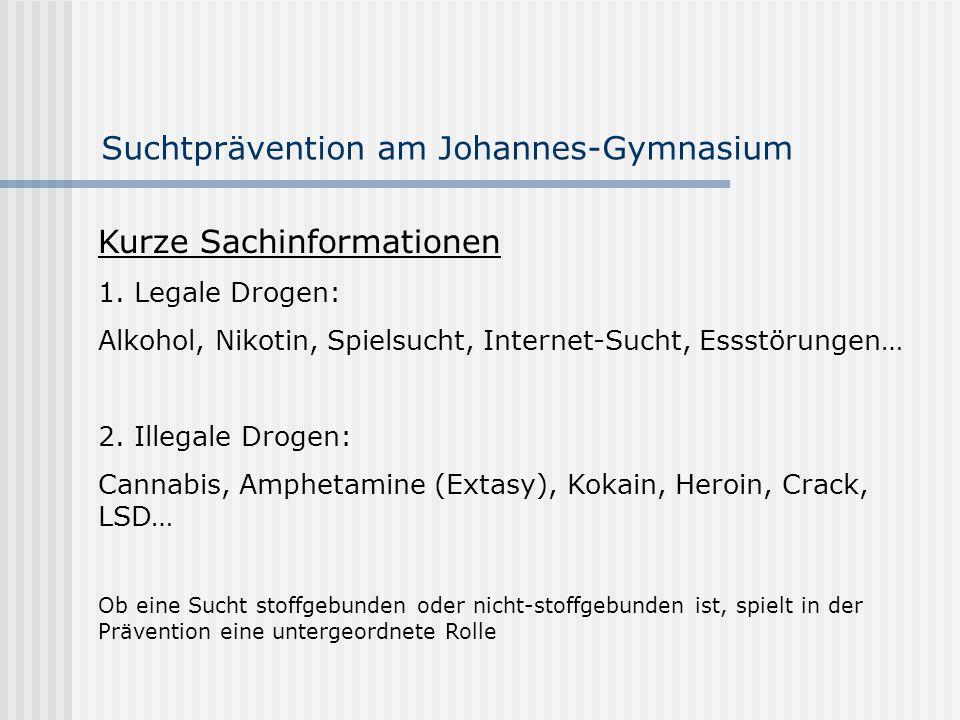 Suchtprävention am Johannes-Gymnasium Kurze Sachinformationen 1. Legale Drogen: Alkohol, Nikotin, Spielsucht, Internet-Sucht, Essstörungen… 2. Illegal