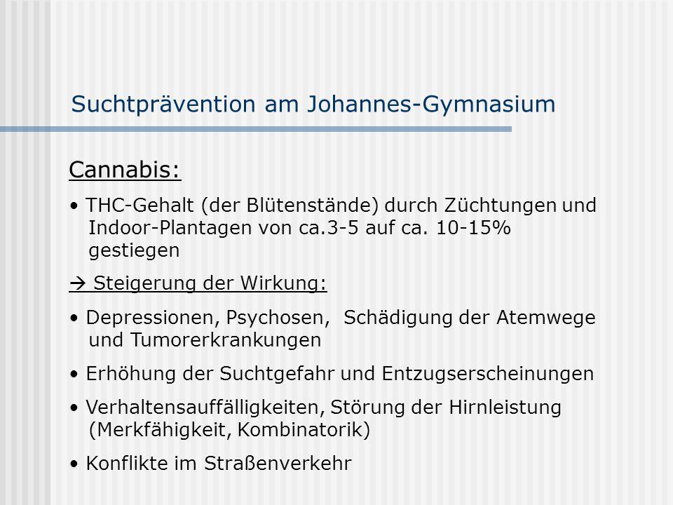 Suchtprävention am Johannes-Gymnasium Cannabis: THC-Gehalt (der Blütenstände) durch Züchtungen und Indoor-Plantagen von ca.3-5 auf ca. 10-15% gestiege