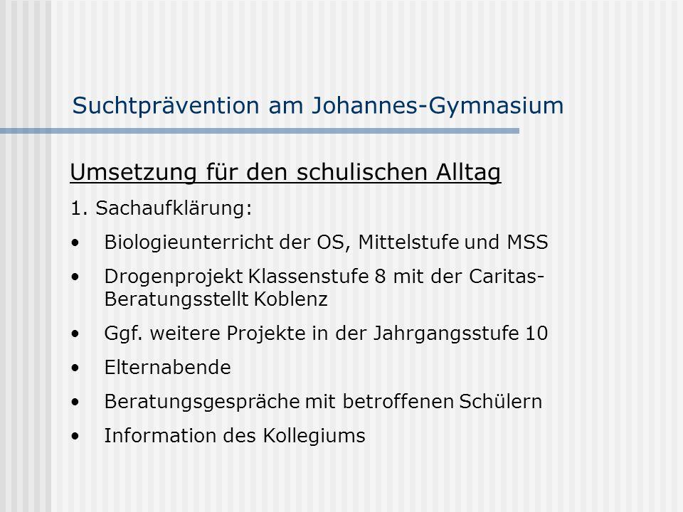 Suchtprävention am Johannes-Gymnasium Umsetzung für den schulischen Alltag 1. Sachaufklärung: Biologieunterricht der OS, Mittelstufe und MSS Drogenpro