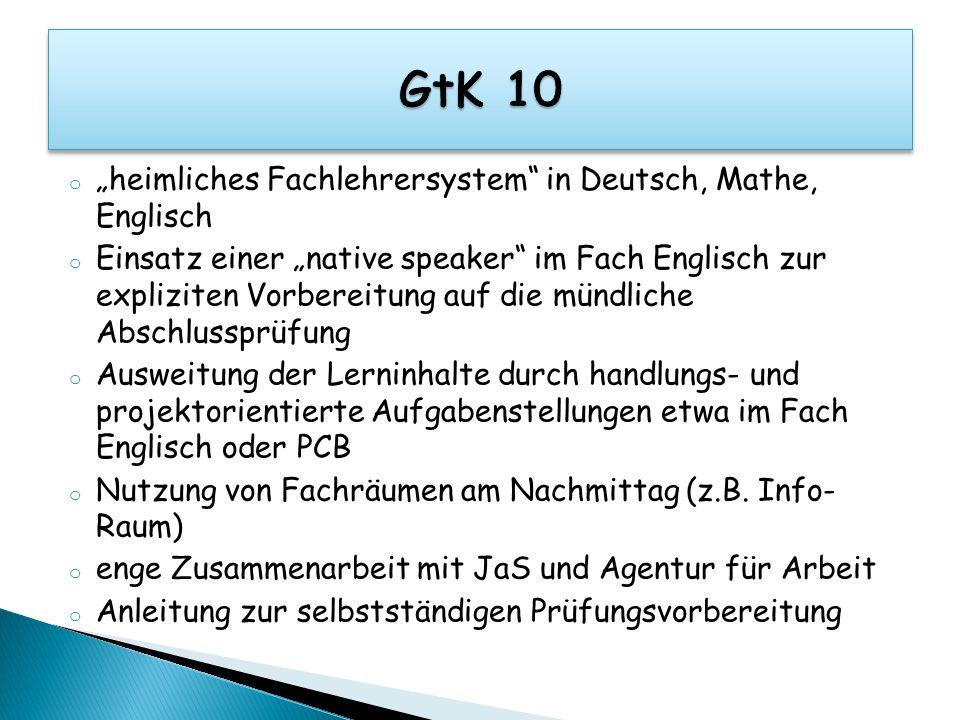 """o """"heimliches Fachlehrersystem"""" in Deutsch, Mathe, Englisch o Einsatz einer """"native speaker"""" im Fach Englisch zur expliziten Vorbereitung auf die münd"""