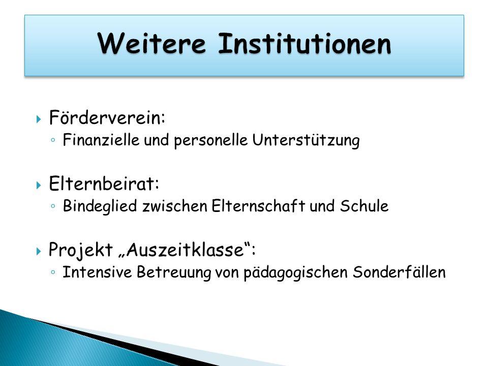 """ Förderverein: ◦ Finanzielle und personelle Unterstützung  Elternbeirat: ◦ Bindeglied zwischen Elternschaft und Schule  Projekt """"Auszeitklasse"""": ◦"""