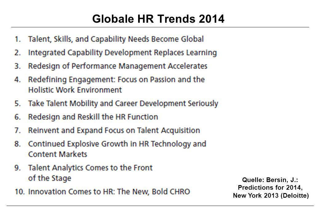 Globale HR Trends 2014 Quelle: Bersin, J.: Predictions for 2014, New York 2013 (Deloitte)