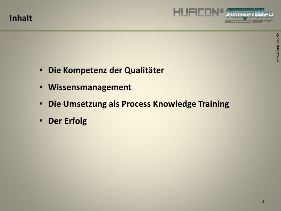 www.stangerweb.de 3 Inhalt Die Kompetenz der Qualitäter Wissensmanagement Die Umsetzung als Process Knowledge Training Der Erfolg