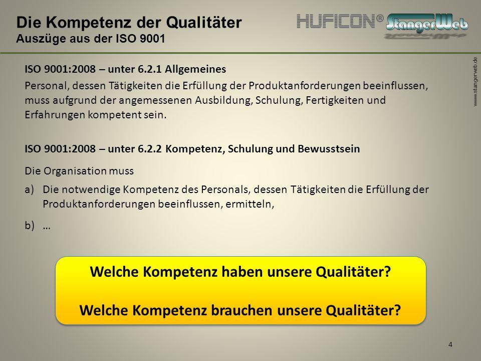 www.stangerweb.de 4 Die Kompetenz der Qualitäter Auszüge aus der ISO 9001 ISO 9001:2008 – unter 6.2.1 Allgemeines Personal, dessen Tätigkeiten die Erf