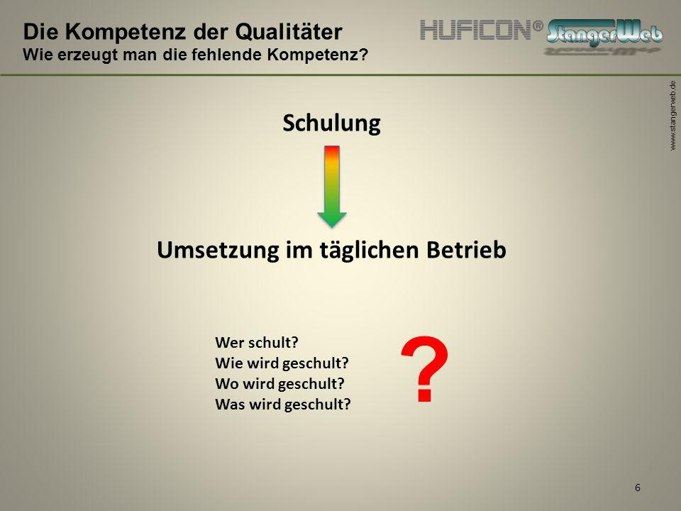 www.stangerweb.de 6 Die Kompetenz der Qualitäter Wie erzeugt man die fehlende Kompetenz? Schulung Umsetzung im täglichen Betrieb Wer schult? Wie wird