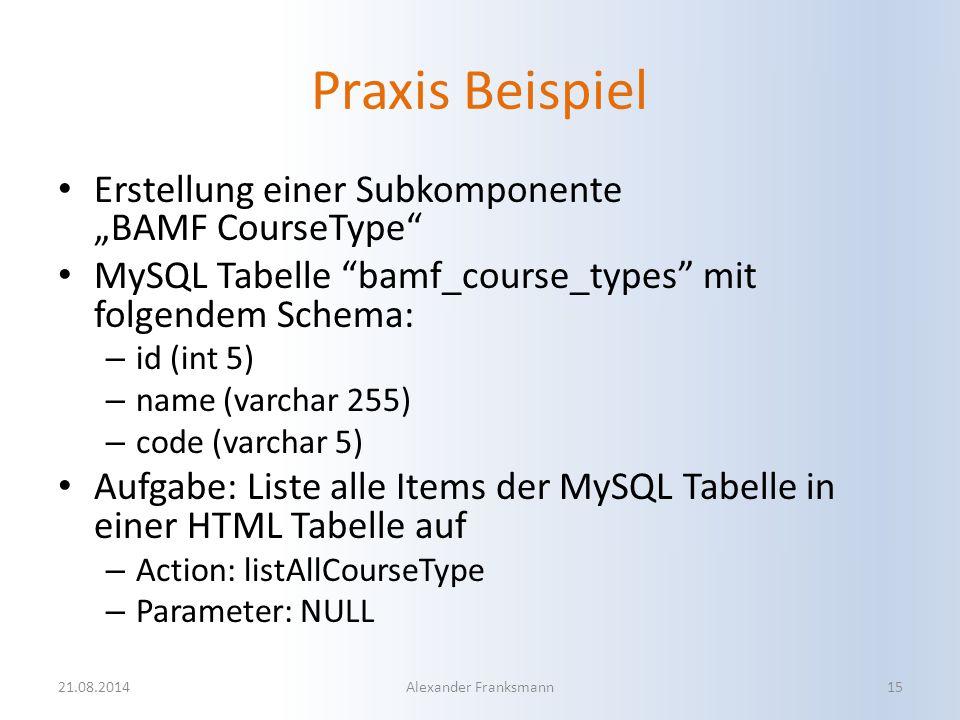 """Praxis Beispiel Erstellung einer Subkomponente """"BAMF CourseType"""" MySQL Tabelle """"bamf_course_types"""" mit folgendem Schema: – id (int 5) – name (varchar"""