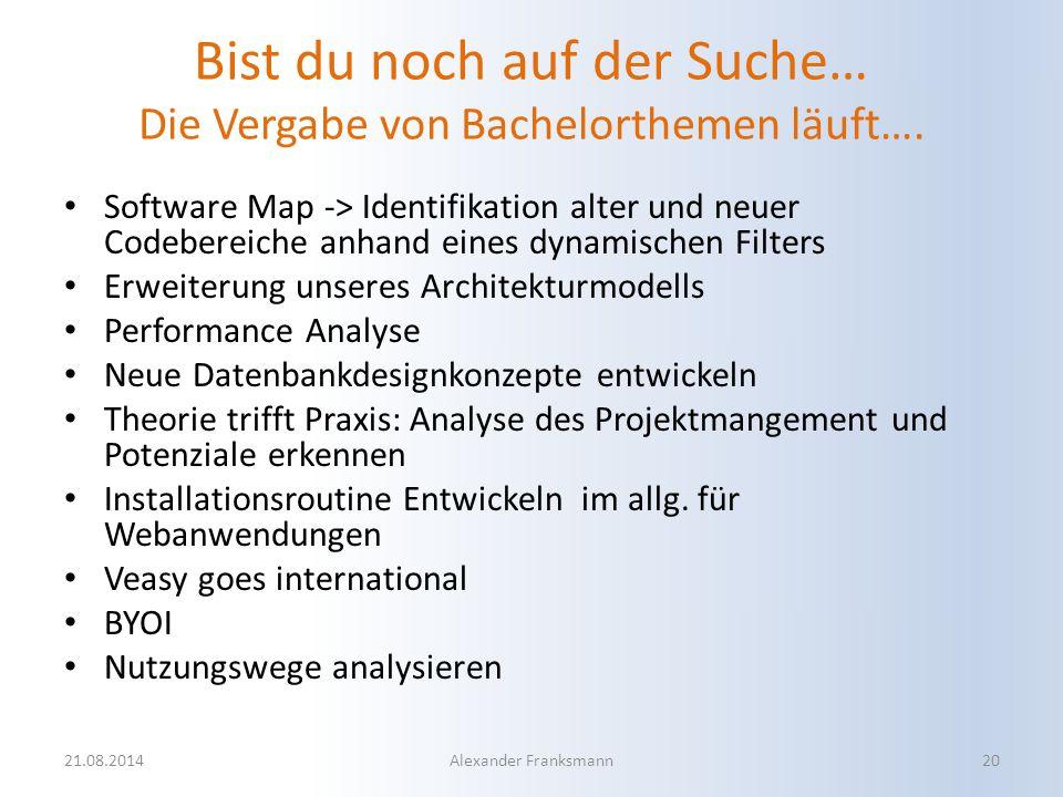Bist du noch auf der Suche… Die Vergabe von Bachelorthemen läuft…. Software Map -> Identifikation alter und neuer Codebereiche anhand eines dynamische