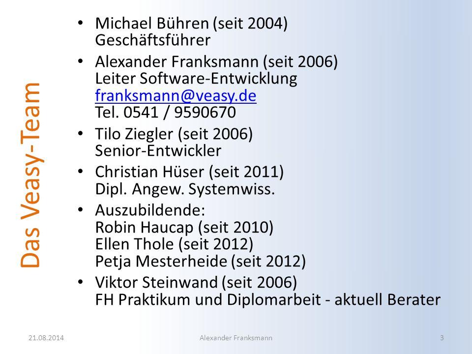 Das Veasy-Team Michael Bühren (seit 2004) Geschäftsführer Alexander Franksmann (seit 2006) Leiter Software-Entwicklung franksmann@veasy.de Tel. 0541 /