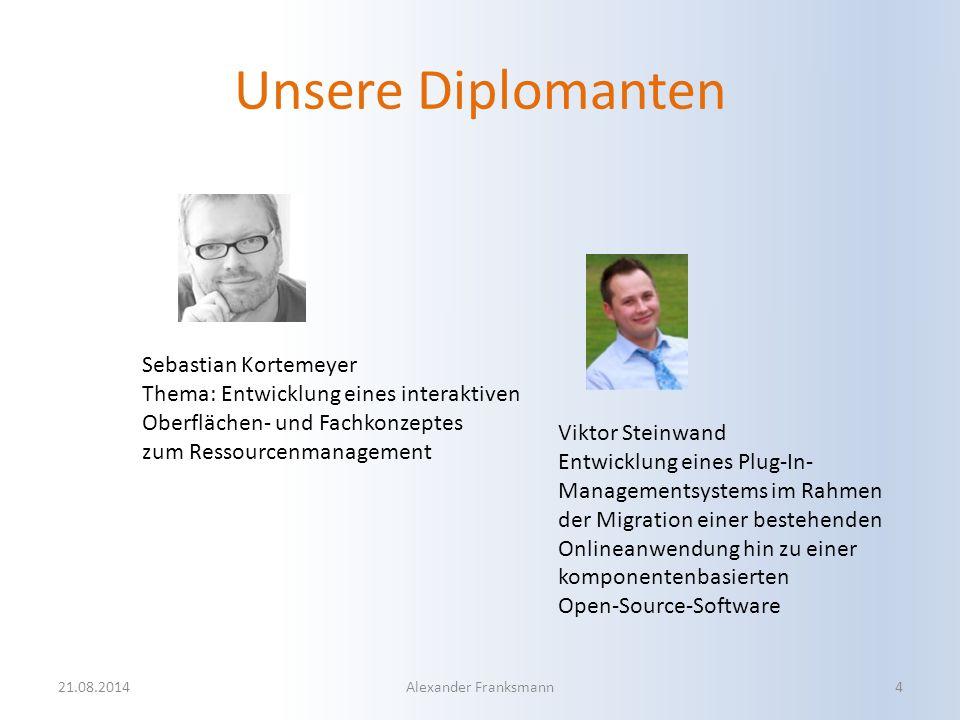 Unsere Diplomanten 21.08.2014Alexander Franksmann4 Sebastian Kortemeyer Thema: Entwicklung eines interaktiven Oberflächen- und Fachkonzeptes zum Resso