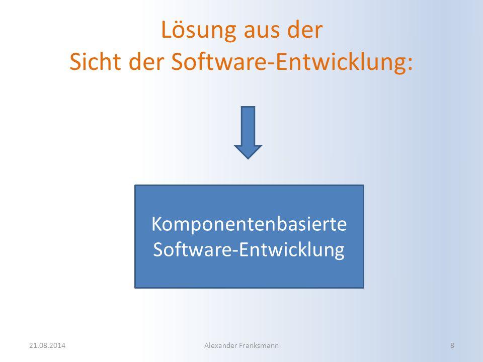 Lösung aus der Sicht der Software-Entwicklung: Komponentenbasierte Software-Entwicklung 21.08.2014Alexander Franksmann8