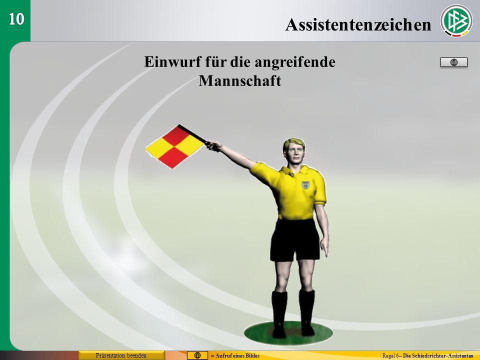 Assistentenzeichen Regel 6– Die Schiedsrichter-Assistenten Einwurf für die angreifende Mannschaft = Aufruf eines Bildes Präsentation beenden