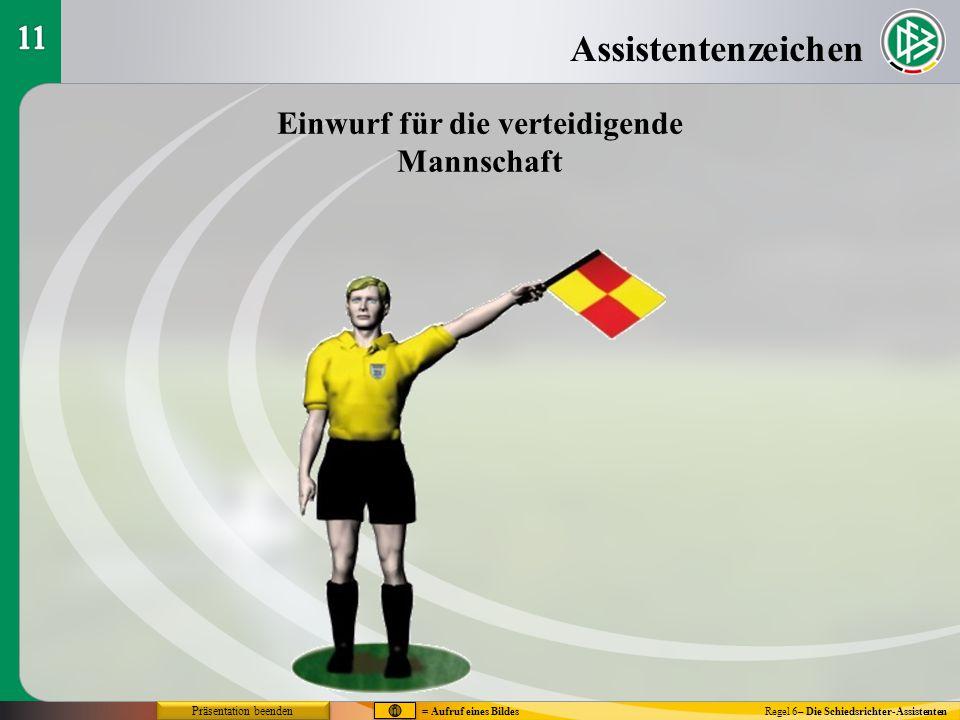 Assistentenzeichen Regel 6– Die Schiedsrichter-Assistenten Einwurf für die verteidigende Mannschaft = Aufruf eines Bildes Präsentation beenden
