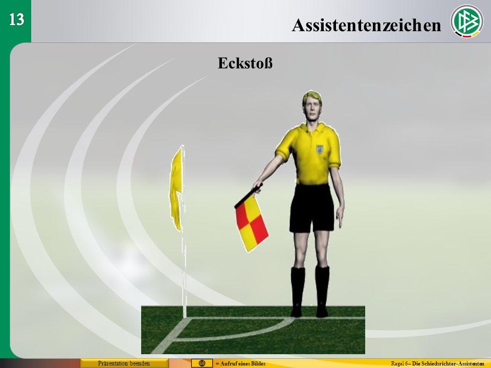 Assistentenzeichen Regel 6– Die Schiedsrichter-Assistenten Eckstoß = Aufruf eines Bildes Präsentation beenden