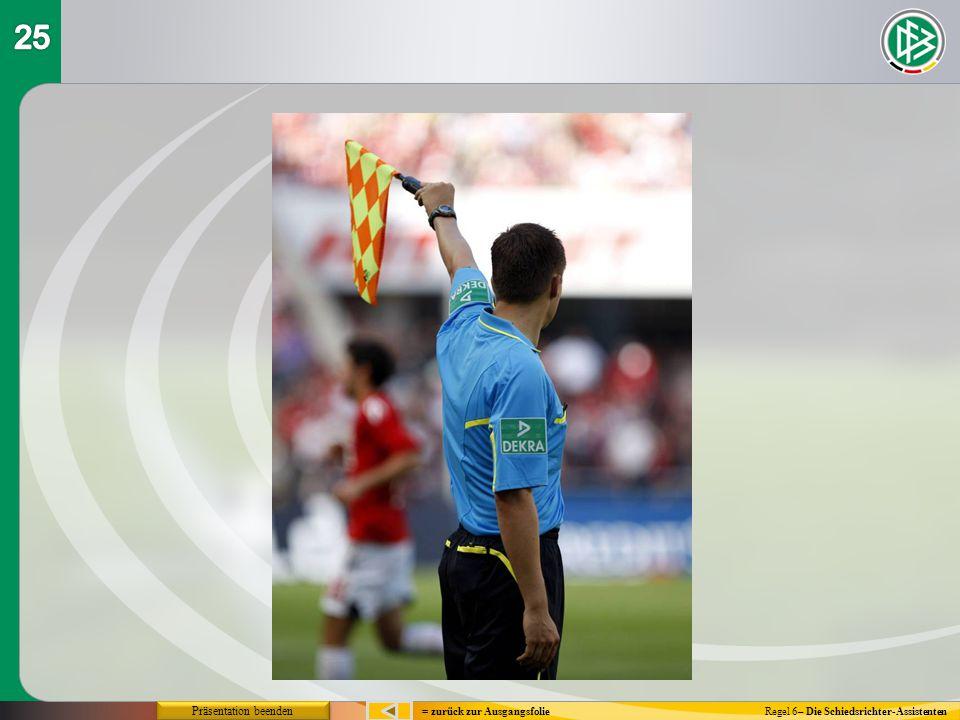 = zurück zur Ausgangsfolie Präsentation beenden Regel 6– Die Schiedsrichter-Assistenten