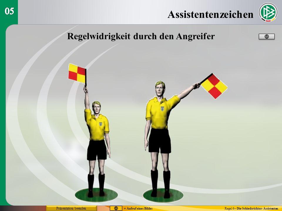 Assistentenzeichen Regel 6– Die Schiedsrichter-Assistenten Regelwidrigkeit durch den Angreifer = Aufruf eines Bildes Präsentation beenden