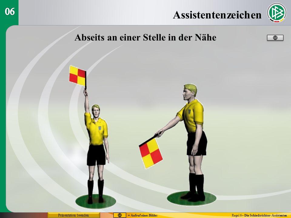 Assistentenzeichen Regel 6– Die Schiedsrichter-Assistenten Abseits an einer Stelle in der Nähe = Aufruf eines Bildes Präsentation beenden