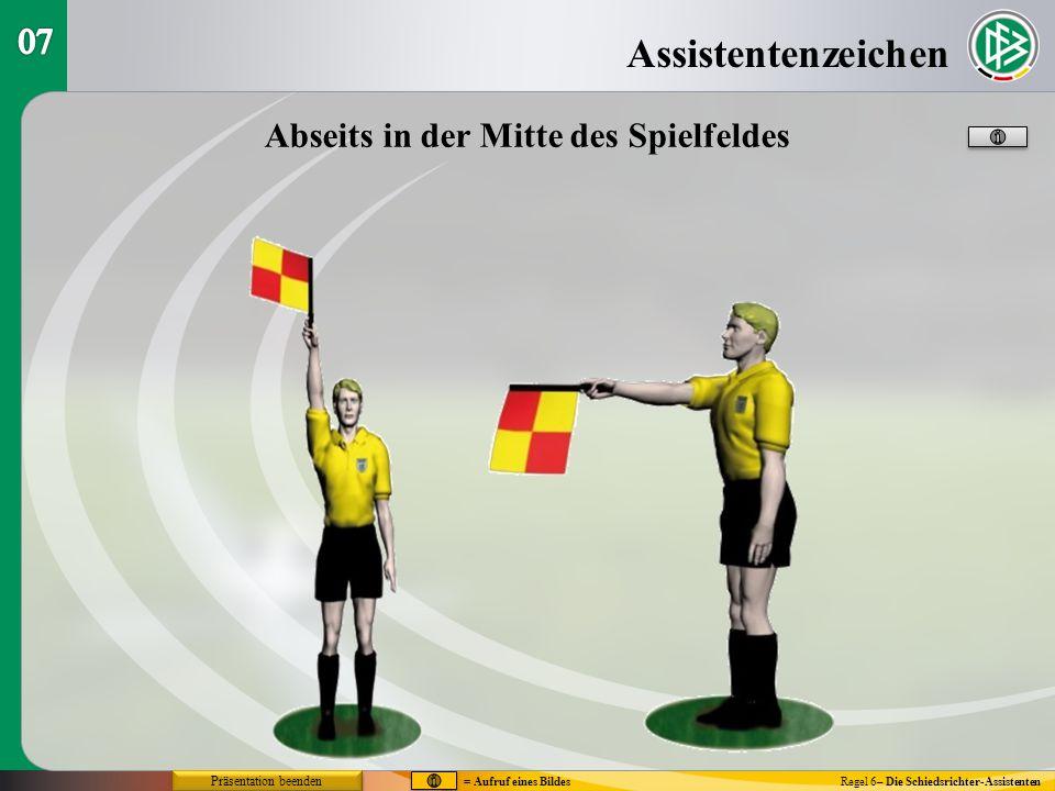 Assistentenzeichen Regel 6– Die Schiedsrichter-Assistenten Abseits in der Mitte des Spielfeldes = Aufruf eines Bildes Präsentation beenden