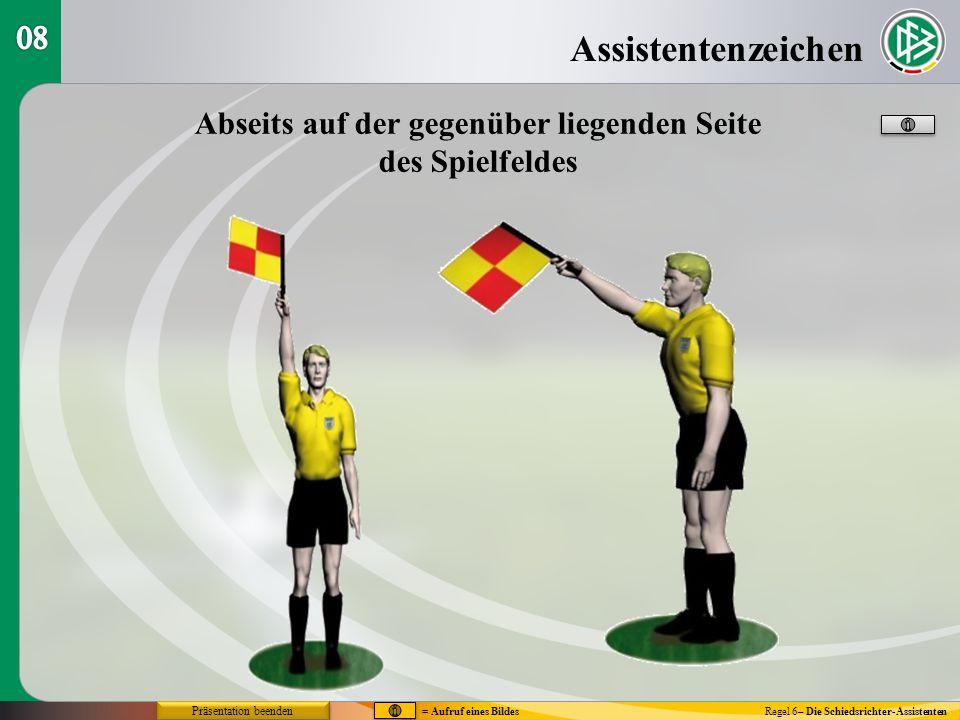Assistentenzeichen Regel 6– Die Schiedsrichter-Assistenten Abseits auf der gegenüber liegenden Seite des Spielfeldes = Aufruf eines Bildes Präsentatio