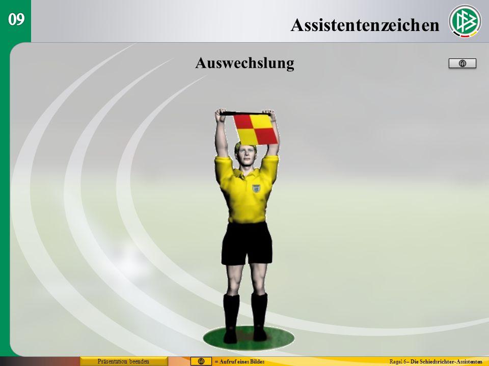 Assistentenzeichen Regel 6– Die Schiedsrichter-Assistenten Auswechslung = Aufruf eines Bildes Präsentation beenden