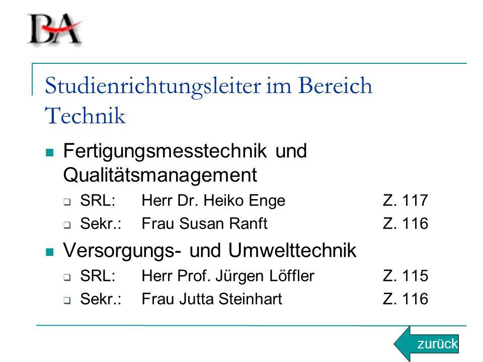 Studienrichtungsleiter im Bereich Technik Fertigungsmesstechnik und Qualitätsmanagement  SRL:Herr Dr. Heiko EngeZ. 117  Sekr.:Frau Susan RanftZ. 116