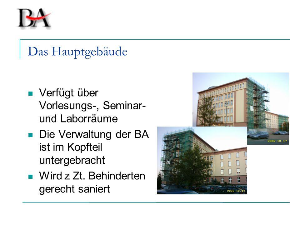 Das Hauptgebäude Verfügt über Vorlesungs-, Seminar- und Laborräume Die Verwaltung der BA ist im Kopfteil untergebracht Wird z Zt. Behinderten gerecht