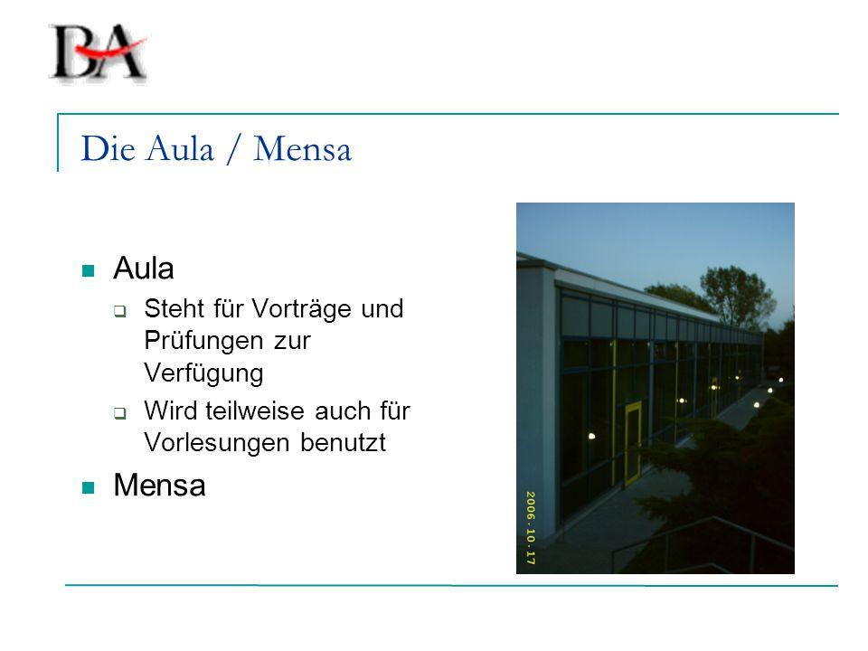 Die Aula / Mensa Aula  Steht für Vorträge und Prüfungen zur Verfügung  Wird teilweise auch für Vorlesungen benutzt Mensa