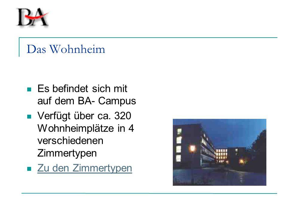 Das Wohnheim Es befindet sich mit auf dem BA- Campus Verfügt über ca. 320 Wohnheimplätze in 4 verschiedenen Zimmertypen Zu den Zimmertypen