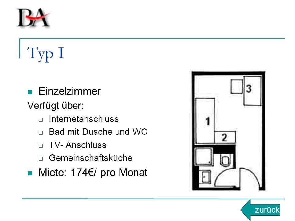 Typ I Einzelzimmer Verfügt über:  Internetanschluss  Bad mit Dusche und WC  TV- Anschluss  Gemeinschaftsküche Miete: 174€/ pro Monat zurück