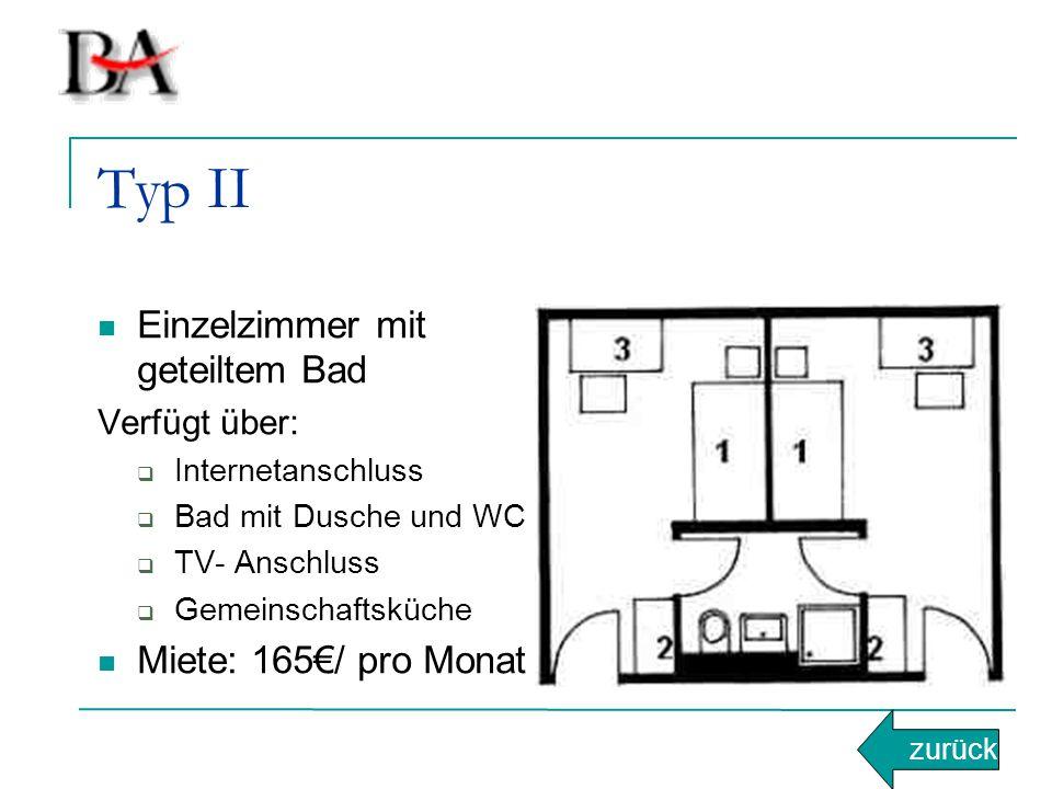 Typ II Einzelzimmer mit geteiltem Bad Verfügt über:  Internetanschluss  Bad mit Dusche und WC  TV- Anschluss  Gemeinschaftsküche Miete: 165€/ pro Monat zurück